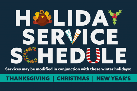 Holiday Service Schedule Email Graphic