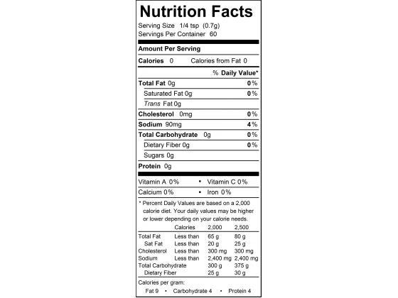 Sativa Spice Nutrition Facts